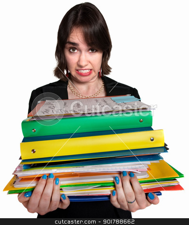 Stressed Out Assistant stock photo, Stressed out female white collar professional with folders by Scott Griessel