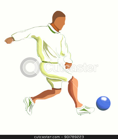 Soccer Player Illustration stock photo, Soccer Player illustration isolated on White Background without Shadows by Rahul Kumar