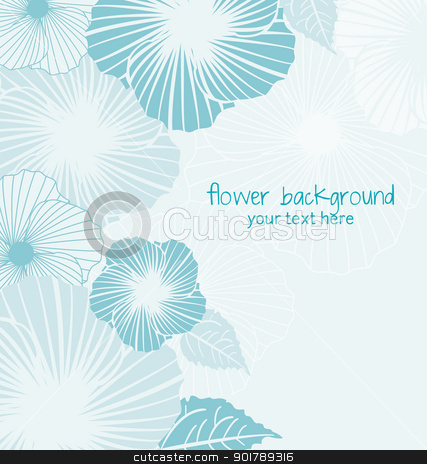 floral background stock vector clipart, blue floral background with place for text by Miroslava Hlavacova