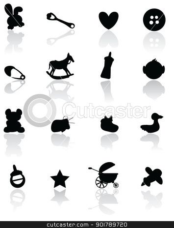 baby arrival background icons stock vector clipart, baby stuff for baby arrival, newborn, celebration and others by glossygirl21