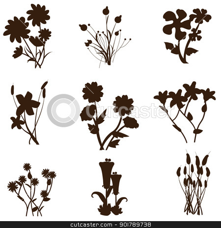 flowers background silhouttes stock vector clipart, flowers background as template, decorations, banners, background and others by glossygirl21
