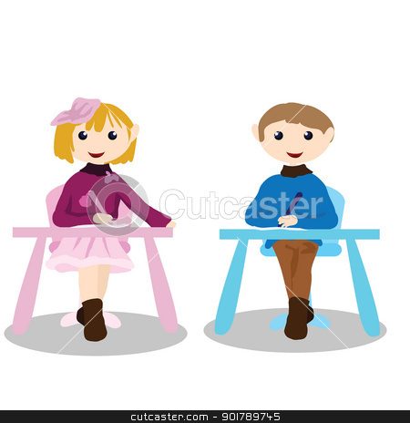 cartoon children activity - education stock vector clipart, two children siting on the chair and writing by glossygirl21