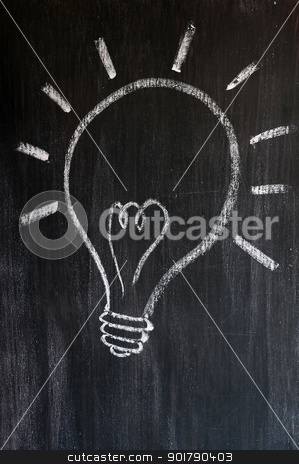 Light bulb drawn on a blackboard  stock photo, Light bulb drawn on a smudged blackboard  by John Young