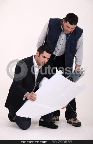 Partnership between foreman and entrepreneur stock photo, Partnership between foreman and entrepreneur by photography33