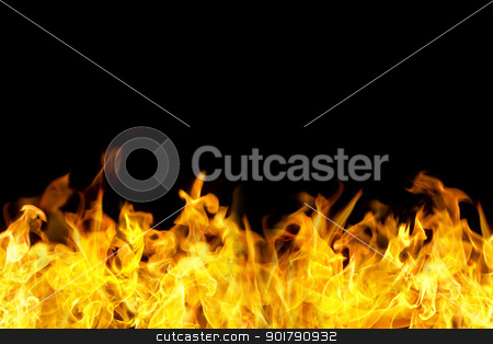 seamless fire flames border stock photo, fire flames border in seamless horizontal style, use for banner. by Mtkang