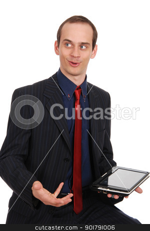 The young enterprising man with the laptop  stock photo, The young enterprising man with the laptop isolated on a white by Vadim