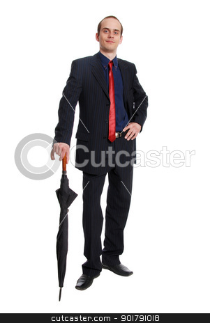 Image of successful businessman  stock photo, Image of successful businessman in elegant suit with folded umbr by Vadim