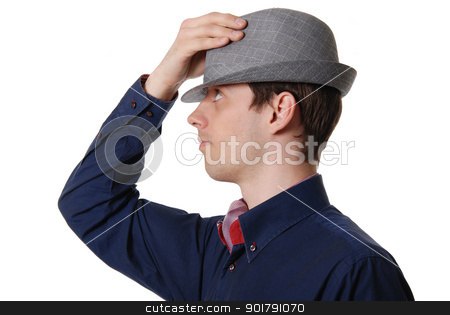 The nice young guy in a hat stock photo, The nice young guy in a hat isolated on white background by Vadim