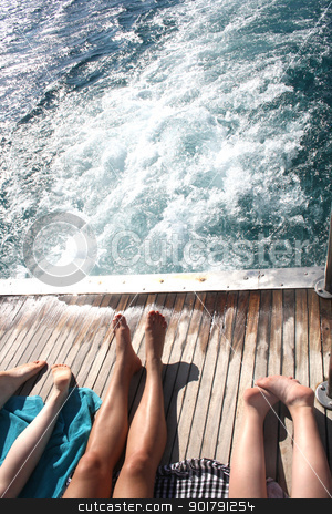 people sunning themselves on deck stock photo, in the summer vacation and relax are by Viktor Thaut