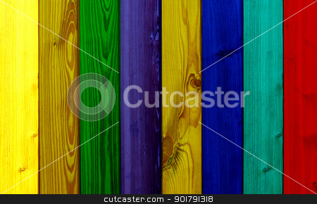 colored wooden planks stock photo, beautiful colored wooden boards in a row by Viktor Thaut
