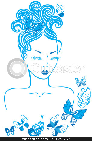 Girl with butterflies stock vector clipart, Elegant line art of a beautiful girl with butterflies by Allaya