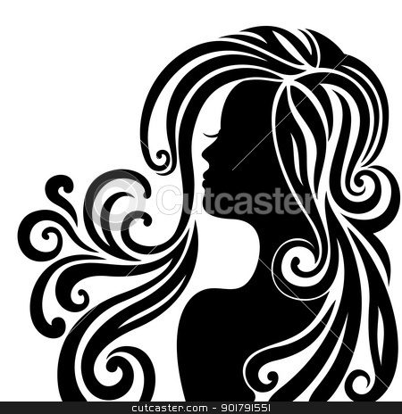 Silhouette of a beautiful young woman stock vector clipart, Elegant line art of a beautiful young woman by Allaya