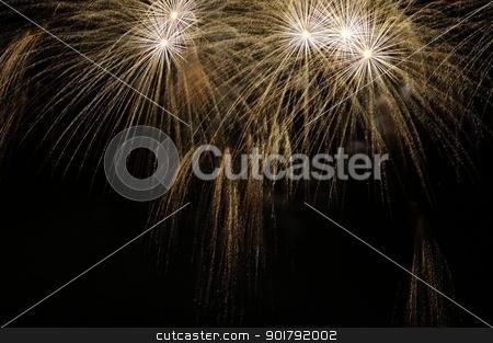 Fireworks stock photo, Fireworks exploding over a dark night sky by Maurizio Martini