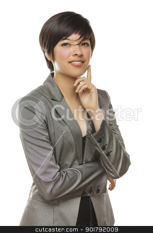 Pretty Mixed Race Young Adult Female Poses on White stock photo, Pretty Mixed Race Young Adult Female Smiles Isolated on a White Background. by Andy Dean