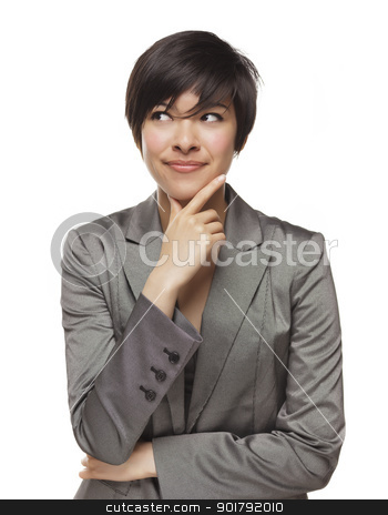 Pretty Thinking Mixed Race Young Adult with Eyes Up and Over stock photo, Pretty Thinking Mixed Race Young Adult with Eyes Up and Over Isolated on a White Background. by Andy Dean