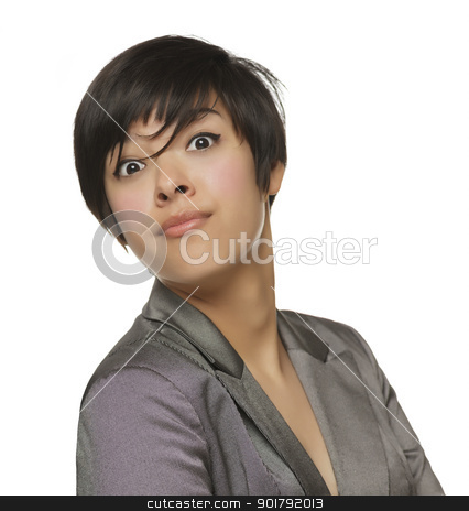 Pretty Young Mixed Race Female Making Face stock photo, Pretty Young Mixed Race Female Making a Silly Face Isolated on a White Background. by Andy Dean