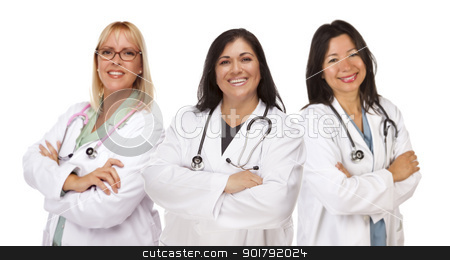 Three Female Doctors or Nurses on White stock photo, Three Female Doctors or Nurses Isolated on a White Background. by Andy Dean