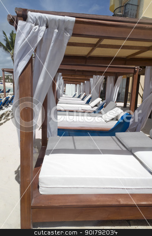 Luxury Day Bed stock photo, A luxury day bed located on the beach by Kevin Tietz