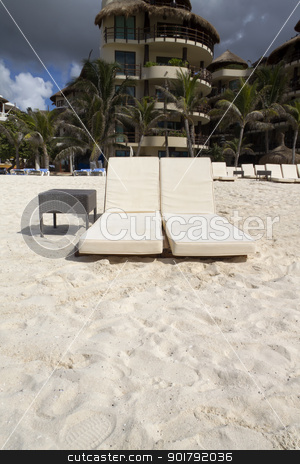 Beach Chairs stock photo, A pair of beach lounge chairs by Kevin Tietz