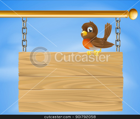 Bird on wood sign stock vector clipart, A cartoon illustration of a happy bird on a wood sign by Christos Georghiou
