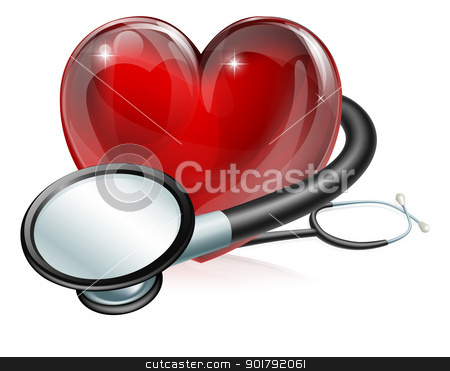 Heart symbol and stethoscope stock vector clipart, Medical concept illustration of heart shaped symbol and stethoscope by Christos Georghiou