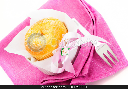Vanilla muffin stock photo, Muffin on a pink napkin and decoration on white background by p.studio66