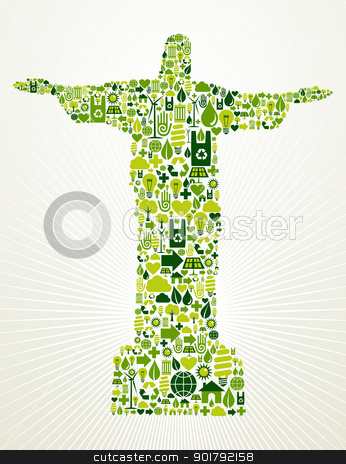 Brazil go green concept illustration  stock vector clipart, Rio de Janeiro and Brazil go green. Eco friendly icon set in Christ the Redeemer statue shape illustration. Vector file layered for easy manipulation and custom coloring. by Cienpies Design