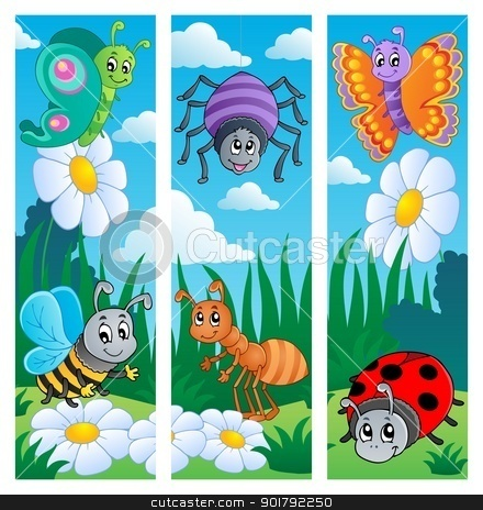 Bugs banners collection 2 stock vector clipart, Bugs banners collection 2 - vector illustration. by Klara Viskova