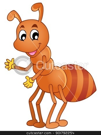 Cartoon smiling ant stock vector clipart, Cartoon smiling ant - vector illustration. by Klara Viskova