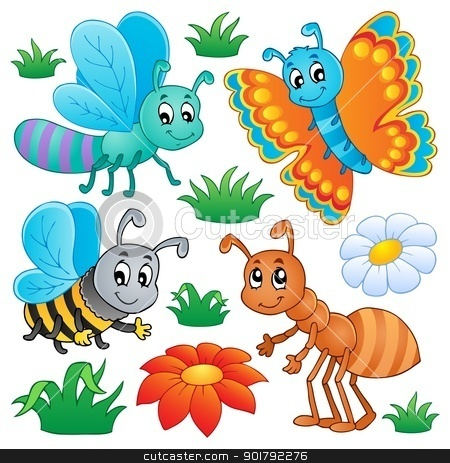 Cute bugs collection 2 stock vector clipart, Cute bugs collection 2 - vector illustration. by Klara Viskova