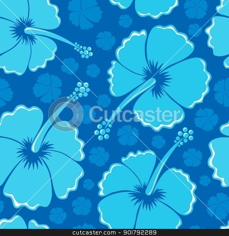 Hibiscus seamless background 1 stock vector clipart, Hibiscus seamless background 1 - vector illustration. by Klara Viskova