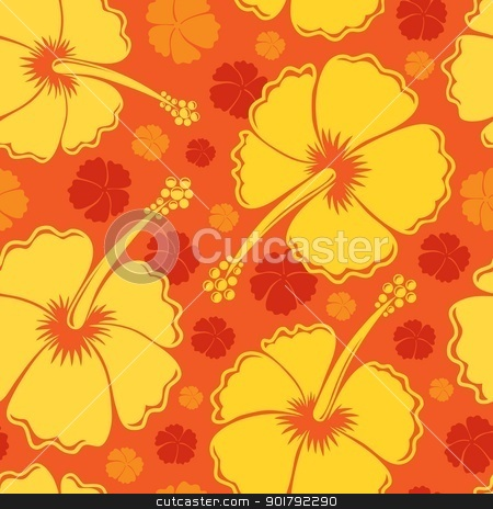 Hibiscus seamless background 2 stock vector clipart, Hibiscus seamless background 2 - vector illustration. by Klara Viskova
