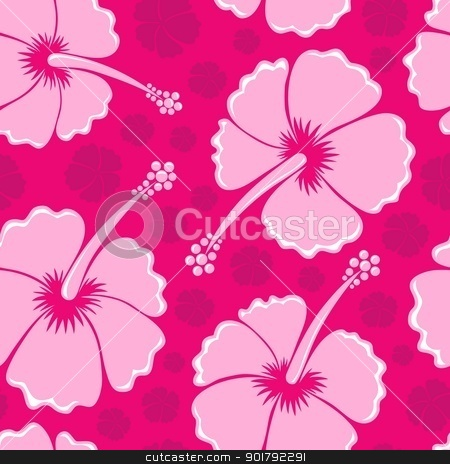 Hibiscus seamless background 3 stock vector clipart, Hibiscus seamless background 3 - vector illustration. by Klara Viskova