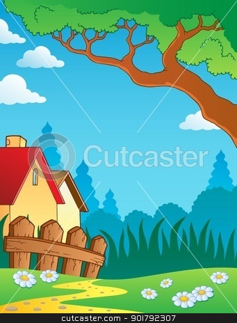 Spring theme landscape 3 stock vector clipart, Spring theme landscape 3 - vector illustration. by Klara Viskova
