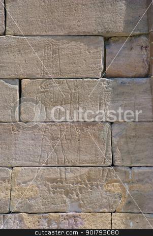Hieroglyph stock photo, Hieroglyph at Temple of Debod, Madrid, Spain by dinozzaver