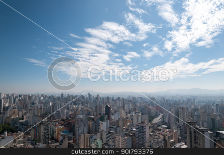 Aerial view of sao paulo.  stock photo, Aerial view of the area northwest of sao paulo. Jaraguá Peak in the background. by Aurelio Scetta