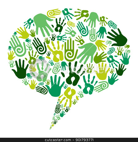 Go green hands communication stock vector clipart, Go green human hands icons in social media bubble composition isolated over white. Vector file layered for easy manipulation and custom coloring by Cienpies Design