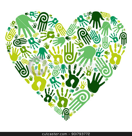 Go green hands love heart stock vector clipart, Go green human hands icons in love heart isolated over white background. Vector file layered for easy manipulation and custom coloring by Cienpies Design