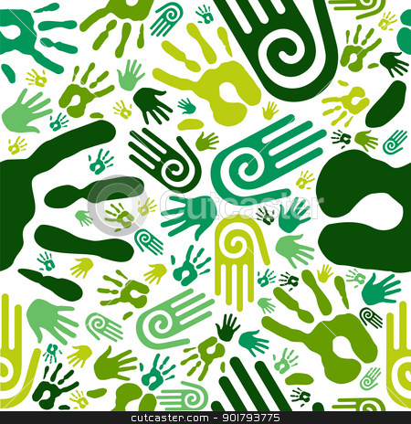 Go green hands seamless pattern stock vector clipart, Go green human hands icons seamless pattern background. Vector file layered for easy manipulation and custom coloring by Cienpies Design