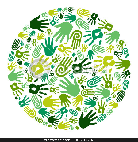 Go green hands circle stock vector clipart, Go green human hands icons in circle composition background. Vector file layered for easy manipulation and custom coloring by Cienpies Design