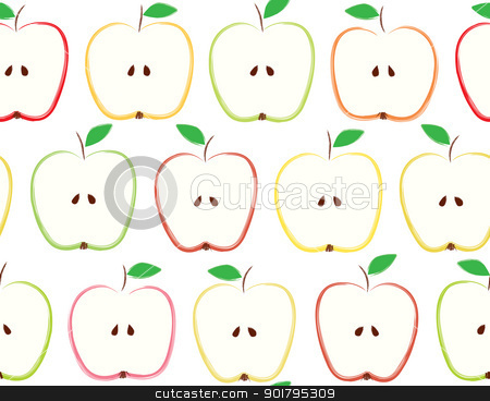 Apples stock vector clipart, Seamless pattern made of apples by nahhan