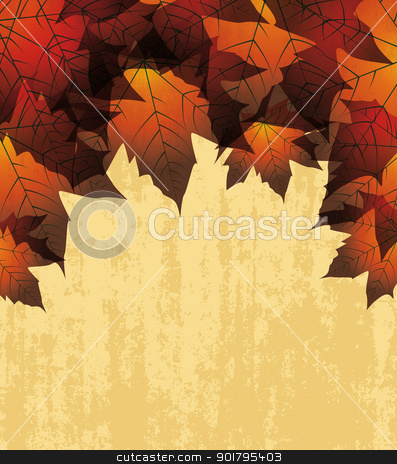 autumn leaves stock vector clipart, autumn leaves in the background by Miroslava Hlavacova