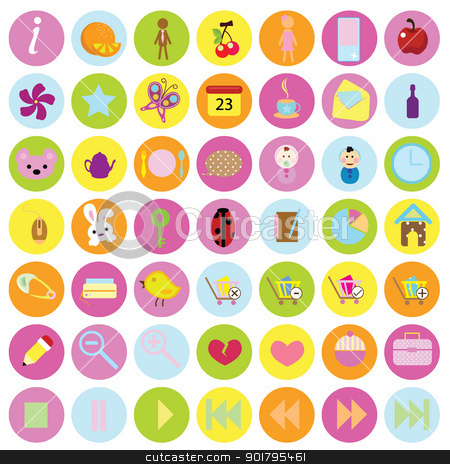 office web icons stock vector clipart, office web icons for buttons, items for websites and template by glossygirl21