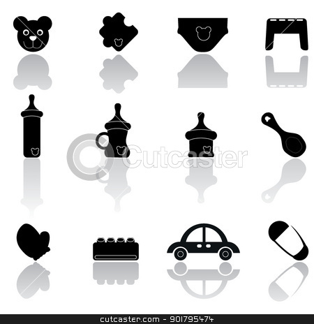 baby icons stock vector clipart, baby icons for web, baby stuff and others by glossygirl21