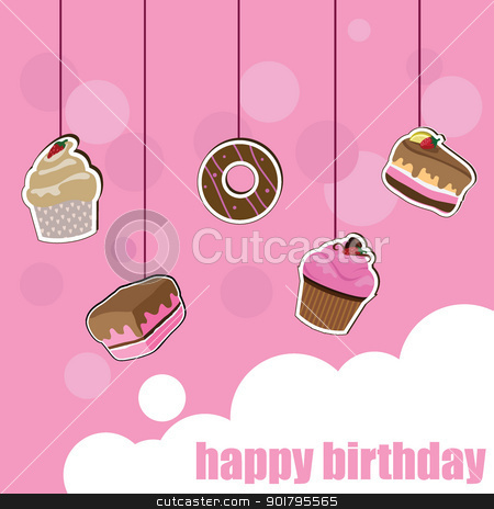 cup cake birthday card stock vector clipart, cup cake birthday card for birthday, kids, celebration and invitation card by glossygirl21