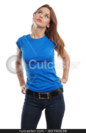 Sexy female with blank blue shirt stock photo, Young beautiful brunette female with blank blue shirt. Ready for your design or artwork. by © Ron Sumners