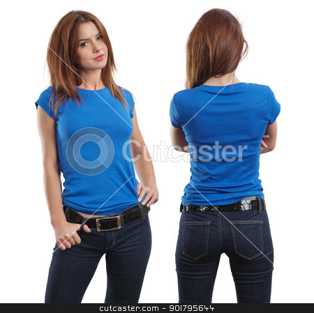 Sexy female wearing blank blue shirt stock photo, Young beautiful brunette female with blank blue shirt, front and back. Ready for your design or artwork. by © Ron Sumners