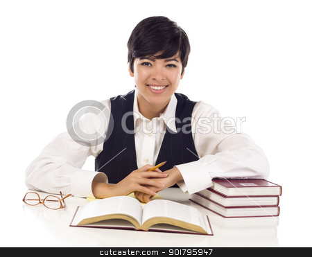 Smiling Mixed Race Female Student with Books Isolated stock photo, Smiling Mixed Race Female Student with Books Isolated on a White Background. by Andy Dean