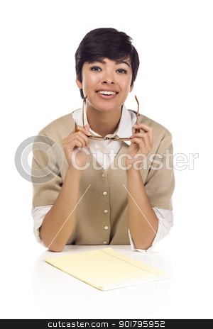 Smiling Mixed Race Female Student at Desk stock photo, Pretty Smiling Mixed Race Female Student at Desk with Books Isolated on a White Background. by Andy Dean