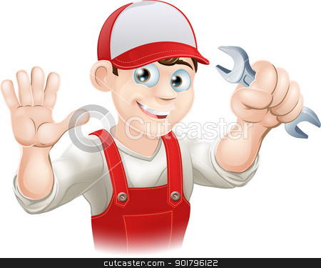 Happy plumber or mechanic with spanner stock vector clipart, Illustration of a happy plumber or mechanic in his work clothes with wrench by Christos Georghiou